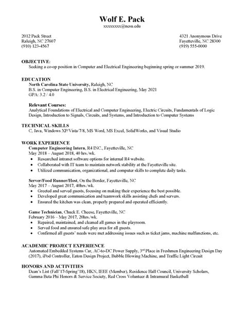 Exle Student Resume by Co Op Resume Career Development Center