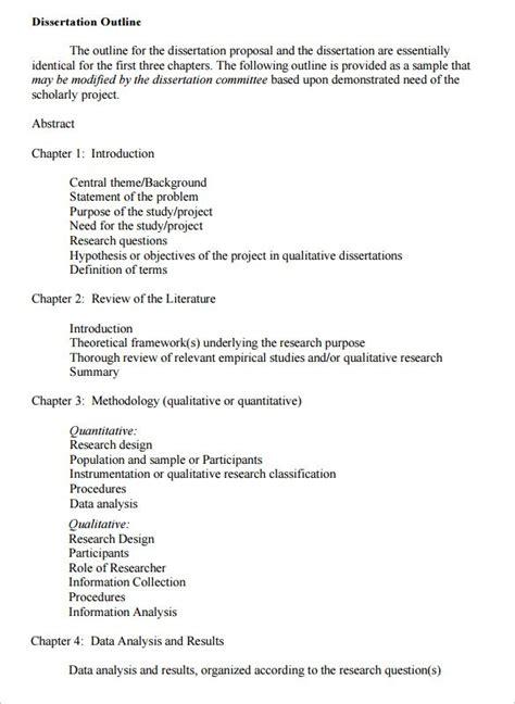 dissertation template 9 dissertation outline template doc pdf free premium templates