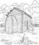 Coloring Cabin Log Lincoln Abraham Logs Printable Drawing Cabins Colouring Sketch Supercoloring Clipart Adult Abe Sheets Mountain Washington George Popular sketch template