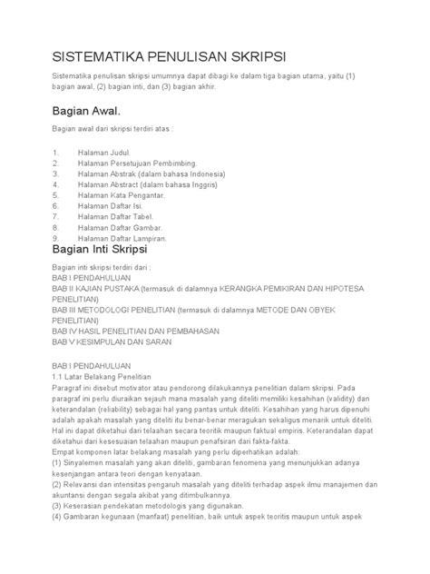 Sistematika Penulisan Skripsi | PDF