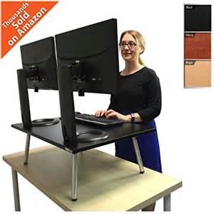 stands executive stand steady standing desk stand up desk converter holds two monitors