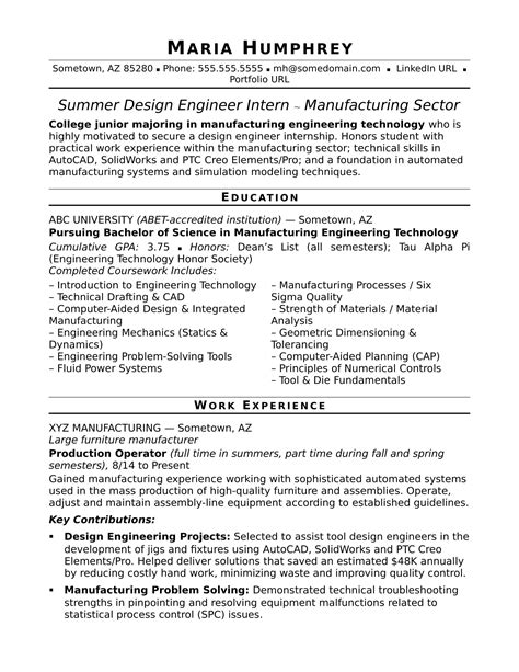 entry level design sle resume for an entry level design engineer