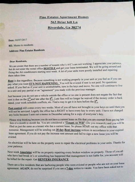 residents outraged  rude letter  apartment manager