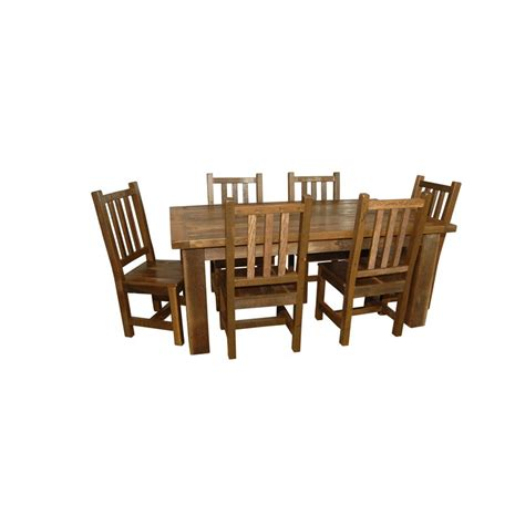 rustic reclaimed barn wood dining table and 6 chairs