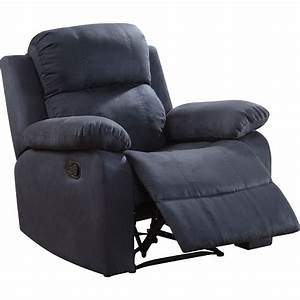 Parklon Blue Microfiber Manual Recliner By Acme