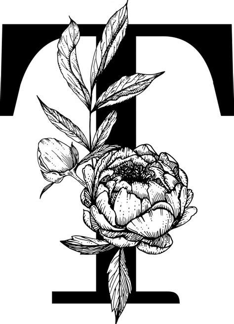 letter  botanical alphabet fow wedding monogram premium vector
