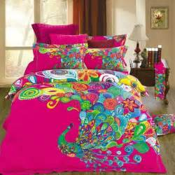 Home Design Bedding Unique Design Colorful Peacock Print Bedding Set Size 100 Cotton Fabric Home Textiles