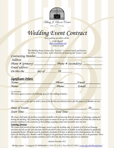 wedding planner contract templates  premium