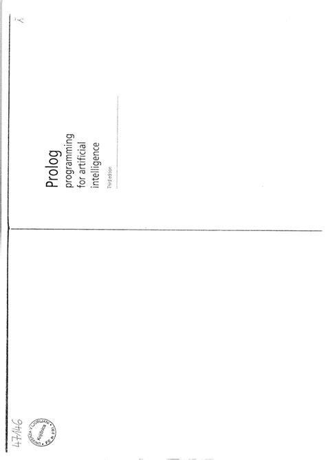 IVAN BRATKO PROLOG PROGRAMMING FOR ARTIFICIAL INTELLIGENCE PDF