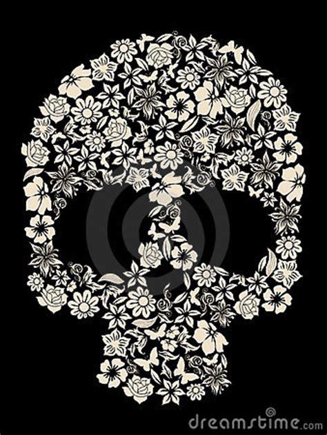 flower skull vector stock  image