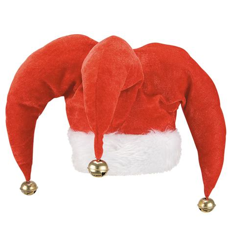 christmas jester hat with bells soft white fur