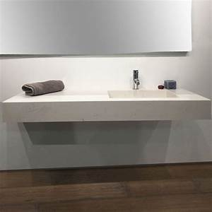 plan vasque salle de bain suspendu 121x46 cm excentre With salle de bain design avec plan vasque marbre