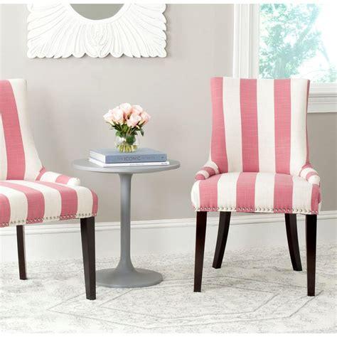Safavieh Lester Pink & White Linen Blend Dining Chair (set