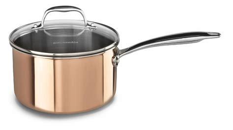 kitchenaid kcpplcp tri ply copper  quart saucepan  lid cookware satin copper
