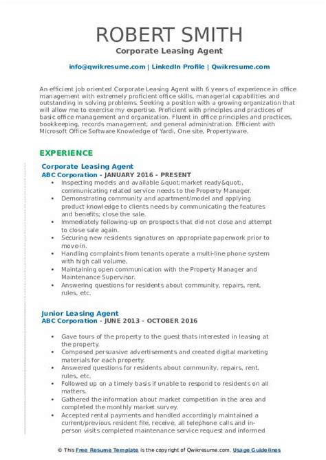 Leasing Resume Templates by Leasing Resume Sles Qwikresume