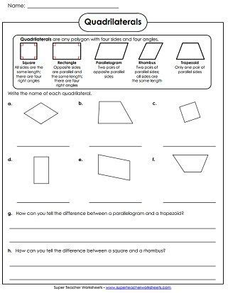 quadrilaterals worksheet school math geometry worksheets math worksheets 5th grade worksheets