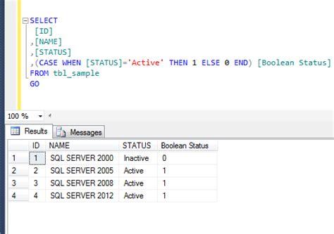 sql server string comparison   boolean  select