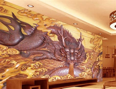 Customize 3d Wall Murals Home Decor Dragon Wood Carving 3d