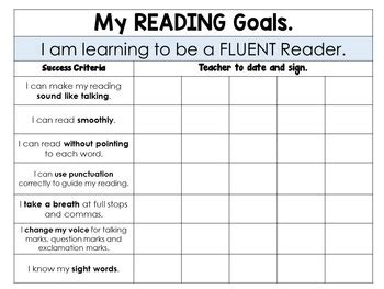 reading goals posters booklet  tracking sheets