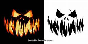 10 free scary halloween pumpkin carving patterns stencils for Scary jack o lantern face template