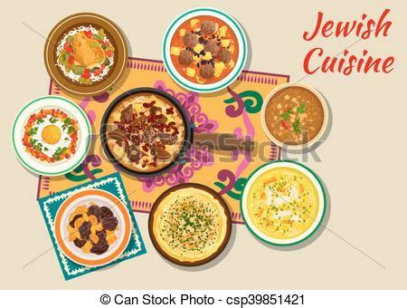 cuisine juif illustration vecteur de cuisine plats juif cacher