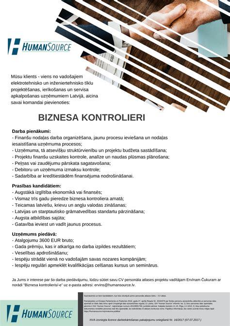 BIZNESA_KONTROLIERIS - Humansource - Humansource