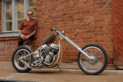 Curvy-framed Panhead Hardtail Custom With Long Forks