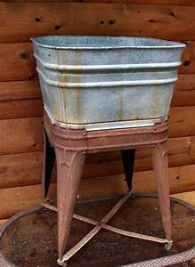 Old, Galvanized, Wash, Tub, And, Stand, Straight, From, The, By, Rusticcreek