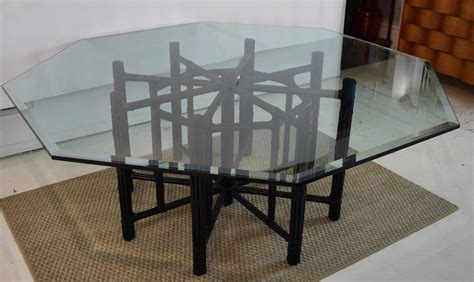 mcguire bamboo table with octagon glass top at 1stdibs