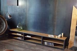 Meuble Acier Bois : les 20 meilleures images du tableau meuble tv sur mesure sur pinterest meubles ~ Teatrodelosmanantiales.com Idées de Décoration
