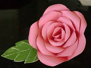 Long stemmed single hot pink paper rose with green leaf made