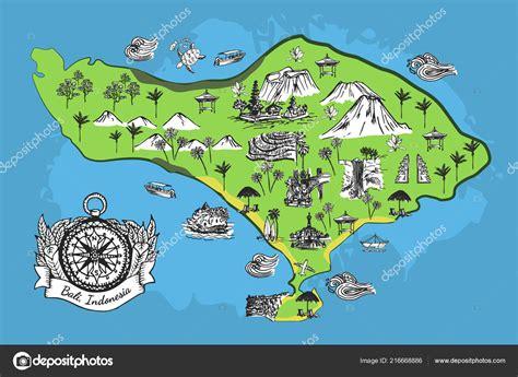 vektorova mapa ostrov bali skica kompasem stock vektor