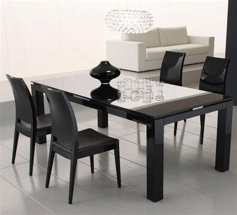 Diamond Black Dining Table With Glass Top  Dining Tables