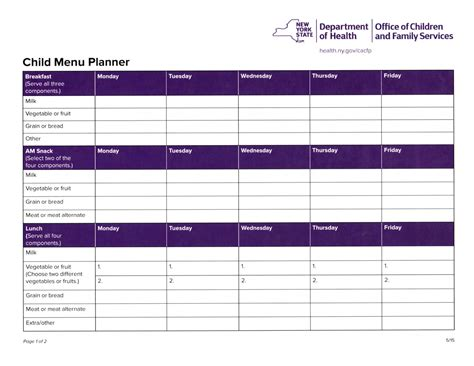 Cacfp Menu Template by Food Nutrition Information Forms Miss S Child Care