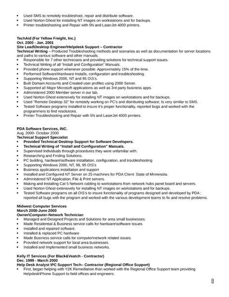 combination technical support specialist resume template