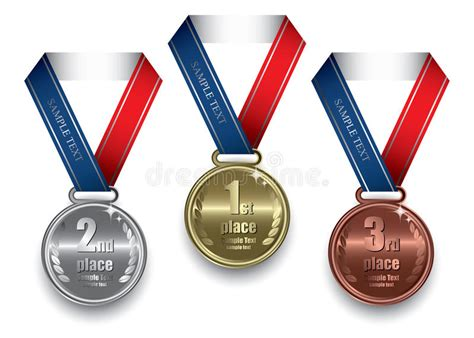 Gold, Silver And Bronze Medal Stock Vector