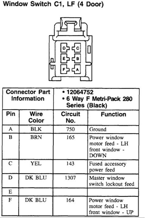 Need Wiring Diagram For The Master Power Window