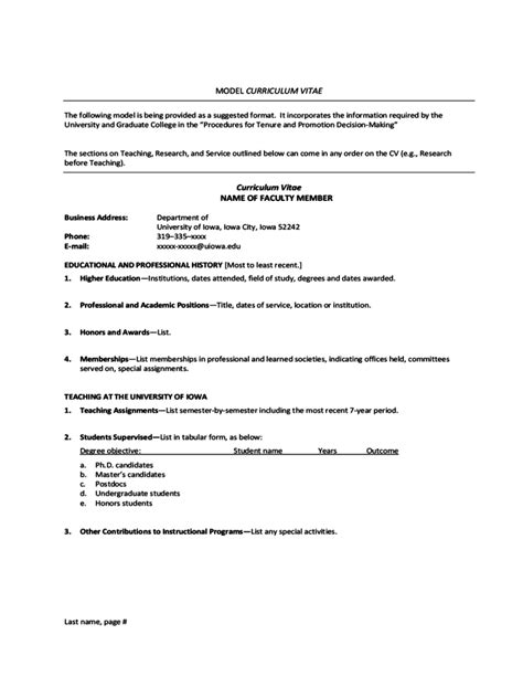 Model Cv Resume by Model Curriculum Vitae Of Iowa Free