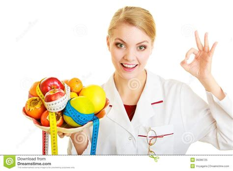 dr cuisine dietitian recommending healthy food diet stock