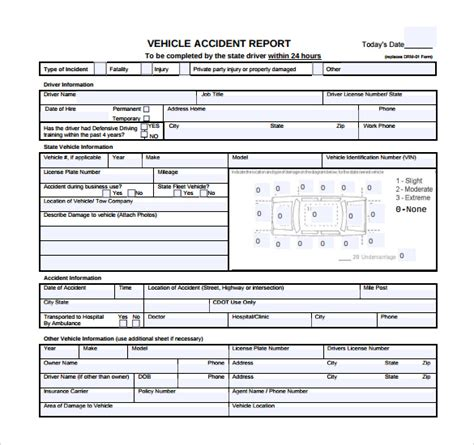 sample accident report templates   ms word