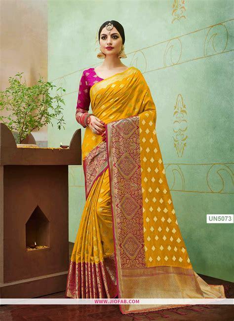 buy  yellow wedding saree  banarasi silk fabric
