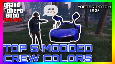 gta  rare top  modded crew colors neon green hot pink    patch  youtube