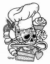Muertos Dia Coloring Los Skull Pages Chef Tattoo Baker Sugar Cupcake Candy Print Drawing Books Dias Tattoos Sheets Etsy Chocolate sketch template