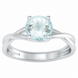 Entwined solitaire aquamarine engagement ring for Wedding rings aquamarine