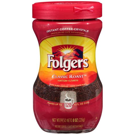 Show more other options of this instant coffee. Folgers Classic Roast Instant Coffee Crystals, 8 Ounces - Coffee Wholesale USA