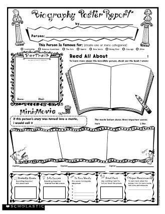biography poster report  printable  scholastic