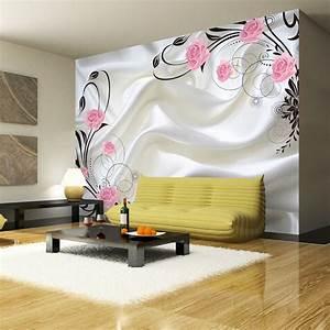 Romantic Wallpaper Pink Rose Smooth Silk Wall Mural ...