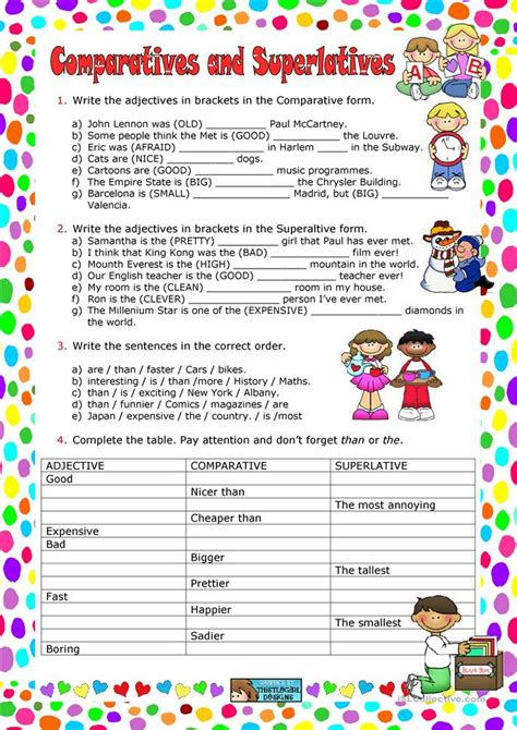 comparatives  superlatives worksheet  esl