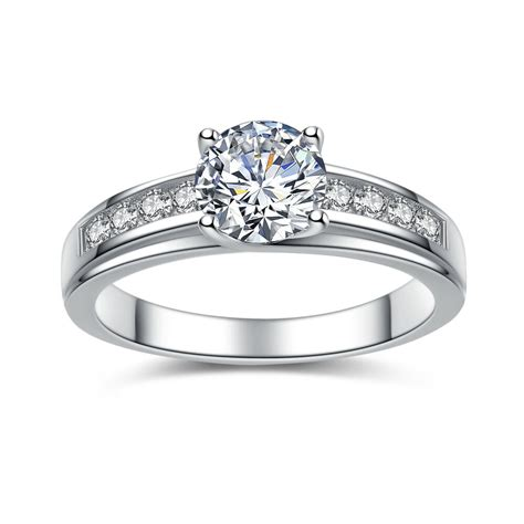 solid 925 sterling silver solitaire 1 50 ct cubic zirconia engagement ring ebay