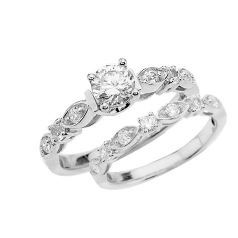 white gold cubic zirconia wedding rings white gold wedding ring set with cubic zirconia 1331